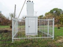 Sottostazione elettrica, trasformatore Fotografia Stock