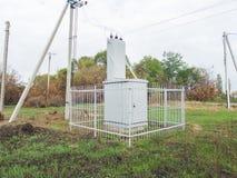 Sottostazione elettrica, trasformatore Fotografia Stock Libera da Diritti