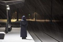 Sottostazione ferroviaria alla notte di inverno Fotografie Stock Libere da Diritti