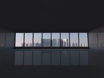 Sottotetto bianco con la finestra alla rappresentazione della città 3D Immagini Stock Libere da Diritti