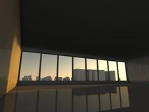 Sottotetto bianco con la finestra alla rappresentazione della città 3D Immagine Stock
