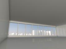 Sottotetto bianco con la finestra alla rappresentazione della città 3D Immagini Stock