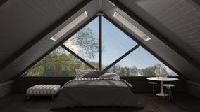 Sottotetto classico del mezzanino con la grande finestra panoramica, camera da letto, summe Fotografia Stock