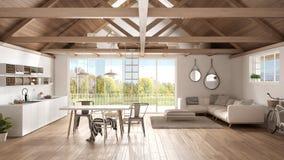 Sottotetto del mezzanino, cucina, vita e camera da letto minimalisti, r di legno illustrazione di stock