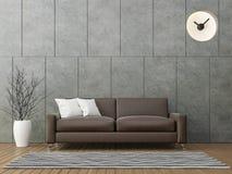 Sottotetto moderno che vive con l'immagine di cuoio marrone della rappresentazione del sofà 3d Immagine Stock