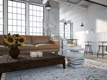 Sottotetto moderno con una cucina rappresentazione 3d Fotografia Stock