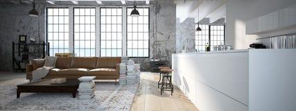 Sottotetto moderno con una cucina rappresentazione 3d Fotografia Stock Libera da Diritti