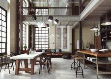 Sottotetto moderno progettato come appartamento aperto di piano fotografia stock libera da diritti