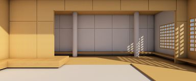 Sottotetto moderno semplice di mostra della galleria e di arti sul contesto di legno illustrazione vettoriale