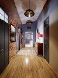 Sottotetto scandinavo moderno contemporaneo urbano Hall Interior Fotografia Stock Libera da Diritti