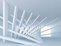 Sottragga il corridoio blu con le colonne inclinate Fotografie Stock Libere da Diritti
