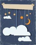 Sottragga il taglio del documento Il fondo del cielo notturno e la nuvola in bianco progettano l'elemento con il posto per il vos Fotografia Stock