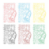 Sottragga l'insieme colorato dell'immagine della pittura di spruzzi nel telaio quadrato Immagine Stock