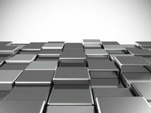 Sottragga la priorità bassa dai cubi lucidi metallici Fotografia Stock Libera da Diritti