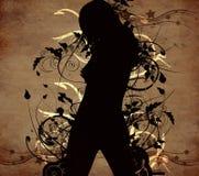 Sottragga la priorità bassa del fiore con un dancing della ragazza Fotografia Stock Libera da Diritti