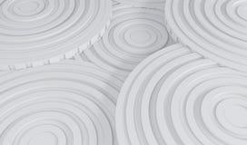 Sottragga la priorità bassa di architettura illustrazione 3d di costruzione circolare bianca Immagine Stock