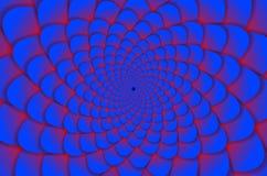 sottragga la priorità bassa Modello di fiore a spirale in rosso ed in blu Fiore di loto astratto Mandala Symbol esoterica Fotografia Stock