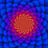 sottragga la priorità bassa Modello di fiore a spirale in rosso ed in blu Fiore di loto astratto Mandala Symbol esoterica Immagini Stock