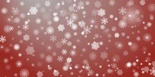 sottragga la priorità bassa Molti fiocchi di neve brillanti differenti fotografia stock