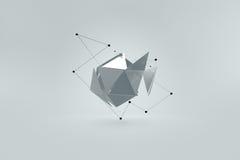sottragga la priorità bassa Platonico rotto con le linee dinamiche nello spazio Illustrazione Vettoriale