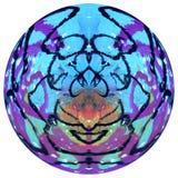 Sottragga la sfera colorata, il globo progettato, palla progettata variopinta isolata su fondo bianco immagine stock