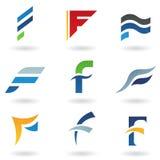 Sottragga le icone per la lettera F Fotografia Stock Libera da Diritti