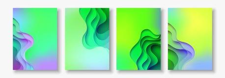A4 sottraggono l'insieme dell'illustrazione di arte della carta di colore 3d Colori di contrasto Vector la disposizione di proget Fotografie Stock Libere da Diritti