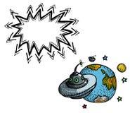 Soucoupe volante et planet-100 Photos stock
