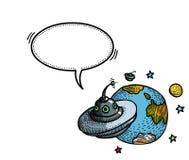 Soucoupe volante et planet-100 Image stock