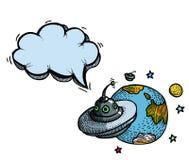 Soucoupe volante et planet-100 Images stock