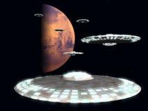 Soucoupes en vol de Mars Images stock