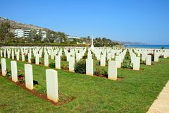 Souda Bay Allied War Cemetery, Crete. View of the Souda Bay Allied War Cemetery with the Aegean sea to the rear, Souda Bay, Crete, Greece, Europe Stock Photo
