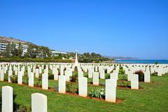 Souda Bay Allied War Cemetery, Crete. View of the Souda Bay Allied War Cemetery with the Aegean sea to the rear, Souda Bay, Crete, Greece, Europe Stock Photos