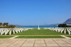 Souda Bay Allied War Cemetery, Crete. View of the Souda Bay Allied War Cemetery with the Aegean sea to the rear, Souda Bay, Crete, Greece, Europe royalty free stock photos