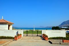 Souda Bay Allied War Cemetery, Crete. View of the Souda Bay Allied War Cemetery with the Aegean sea to the rear, Souda Bay, Crete, Greece, Europe royalty free stock photo