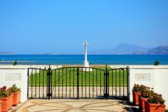 Souda Bay Allied War Cemetery, Crete. View of the Souda Bay Allied War Cemetery with the Aegean sea to the rear, Souda Bay, Crete, Greece, Europe Stock Image