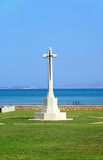 Souda Bay Allied War Cemetery, Crete. View of the Souda Bay Allied War Cemetery cross with the Aegean sea to the rear, Souda Bay, Crete, Greece, Europe Stock Photo