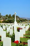 Souda Bay Allied War Cemetery, Crete. View of the Souda Bay Allied War Cemetery gravestones and cross, Souda Bay, Crete, Greece, Europe Stock Photo