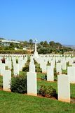 Souda Bay Allied War Cemetery, Crete. View of the Souda Bay Allied War Cemetery gravestones and cross, Souda Bay, Crete, Greece, Europe stock image