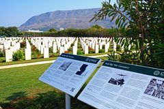 Souda Bay Allied War Cemetery, Crete. View of the Souda Bay Allied War Cemetery with information boards in the foreground, Souda Bay, Crete, Greece, Europe Stock Images