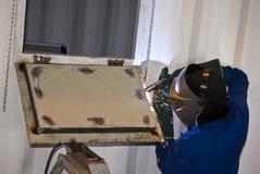 Soudage à l'arc sous gaz avec fil électrode fusible Photographie stock libre de droits