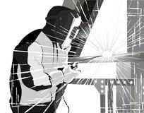 Soudeuse au travail Vecteur grunge de style illustration libre de droits