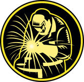 Soudeuse avec le pare-soleil de chalumeau rétro illustration libre de droits