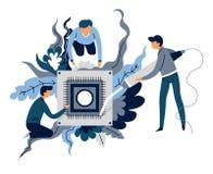 Soudure de microscheme de création d'intelligence artificielle et concept abstrait de programmeurs illustration de vecteur