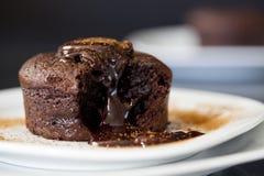 Soufflè del cioccolato caldo con cannella Immagine Stock Libera da Diritti