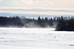 Soufflant et neige de dérive à travers un lac congelé Photos libres de droits