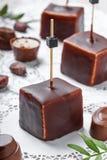 Souffle σοκολάτας το επιδόρπιο καραμελών με τα φασόλια πραλίνας και κακάου σοκολάτας στο ξύλινο υπόβαθρο κλείνει επάνω Στοκ Εικόνες