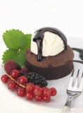 Souffle. Chocolate souffle cake on white background Royalty Free Stock Photography