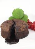 Souffle. Chocolate souffle cake on white background Stock Photos