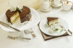 Souffle Cake with chocolate glaze Royalty Free Stock Photos
